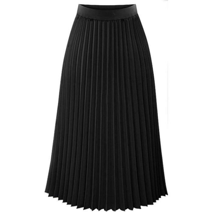 e72718127e70ef Libaib Womens solide plissé élégant Midi taille élastique Jupe longue