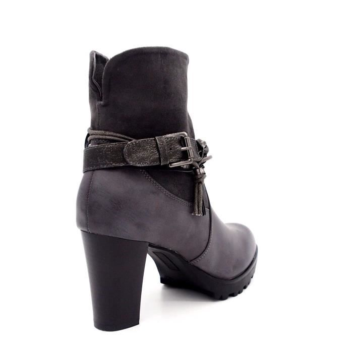 Bottines chaussures femme Bout rond Talon cuir synthétique