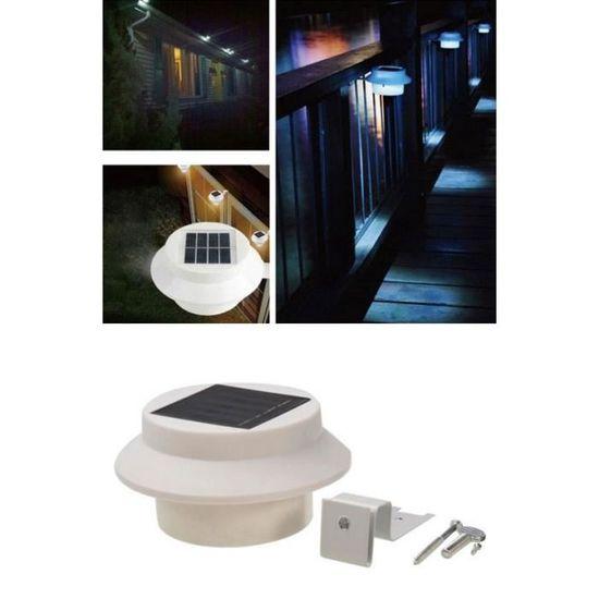 Solaire Toit 3 Clôture Blanc Avant Gouttière Énergie Cour Jardin Mur Lampe Led Extérieur roBQChstdx