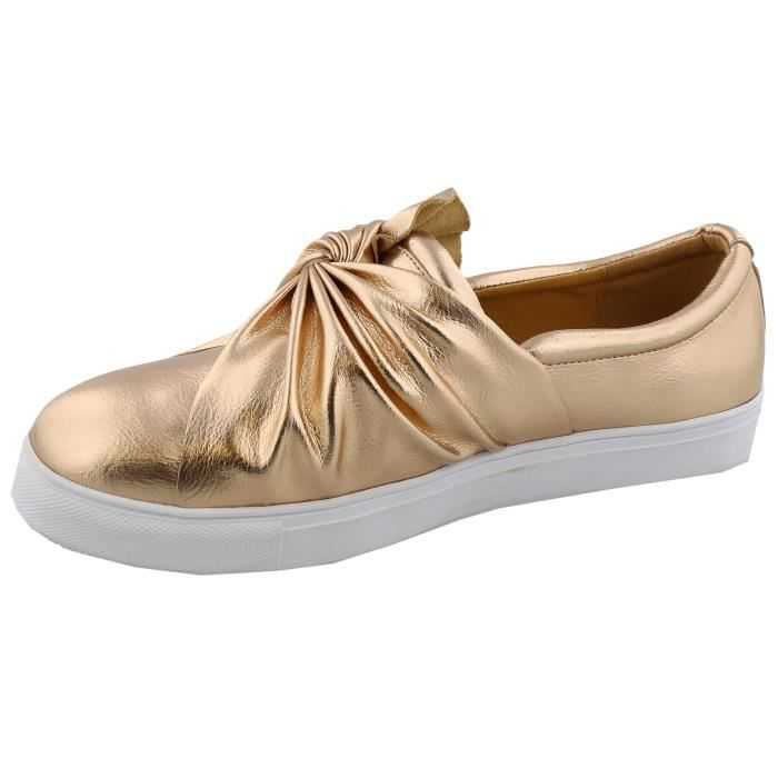 Slip On froncé Knot Flatform Sneaker Mode HJU6W Taille-40
