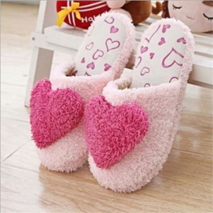 Chausson Pantoufle Hiver Confortable Forme Coeur Peluche Chausson BTYS-XZ001Rouge-41 WhDO0vLO