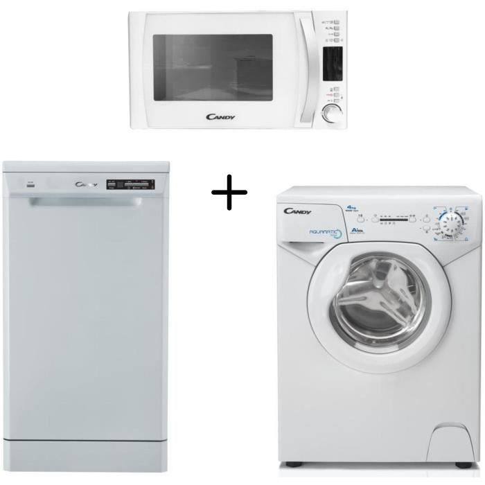 CANDY AQUA1041D1 Lave linge frontal compact + CANDY - CDP2D11453W - Lave vaisselle + CANDY CMXW20DW-