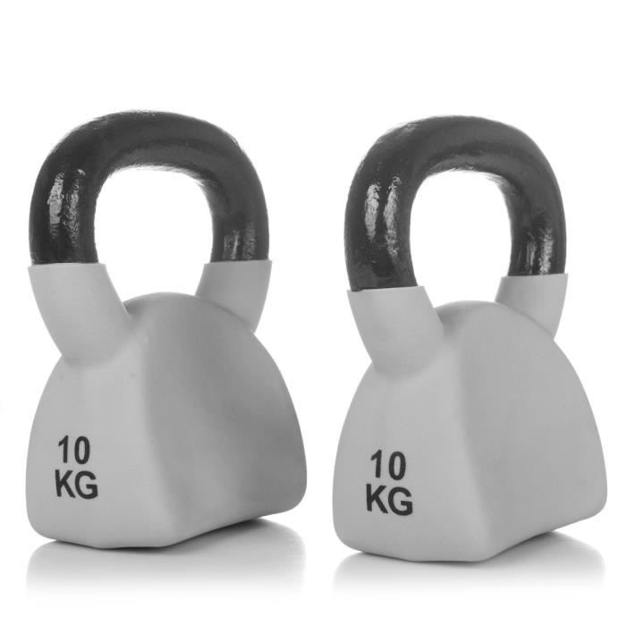 FYTTER Kettle bell AKB10B, une haltère de 10 kg très pratique en forme de boule en fonte à fond plat équipée d'une poignée large.