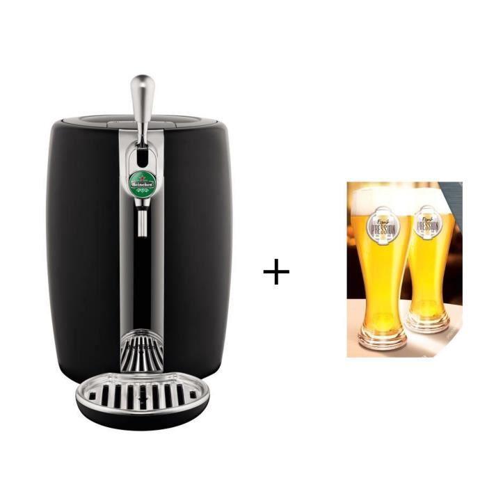 Pack SEB VB310E10 - Beertender noir et métal-machine à bière + 2 verres Offerts