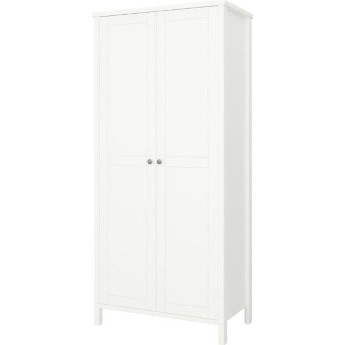 TROMSÖ Armoire 2 portes - Laqué blanc MDF - L 89 x P 49,5 x H 195 cm