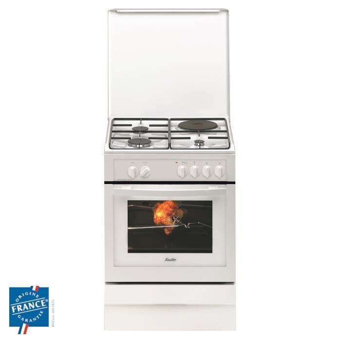 SAUTER SCM1010W - Cuisinière table mixte - 4 foyers - Four 50,4 L - Catalyse - L 60 x H 85 cm - Blanc