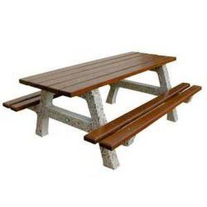 table pique nique chilloux beton et bois resine achat vente salon de jardin table pique. Black Bedroom Furniture Sets. Home Design Ideas