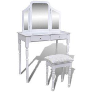 COIFFEUSE Coiffeuse avec miroir et tabouret 2 tiroirs Blanc