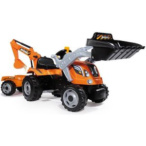 TRACTEUR - CHANTIER SMOBY Tracteur à pédales Builder Max + Remorque