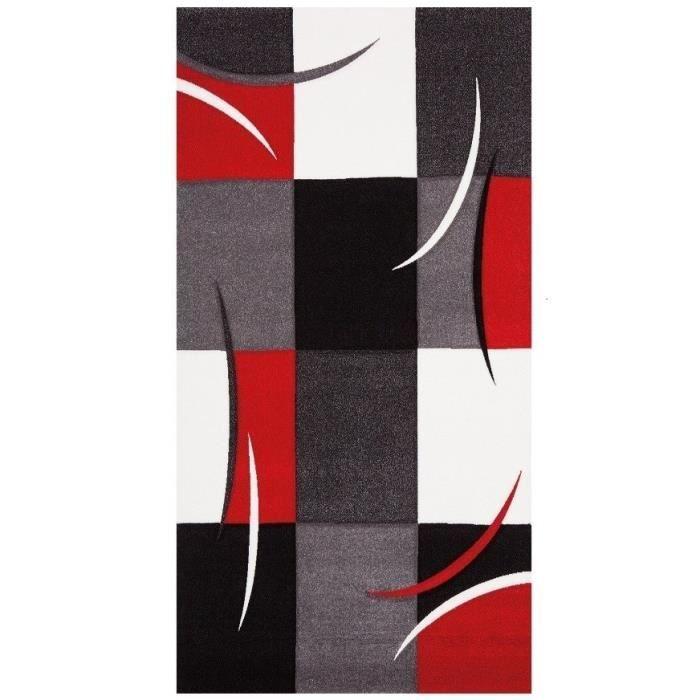 DIAMOND Tapis de salon en polypropylène - 60x110 cm - Rouge, gris, noir et blanc