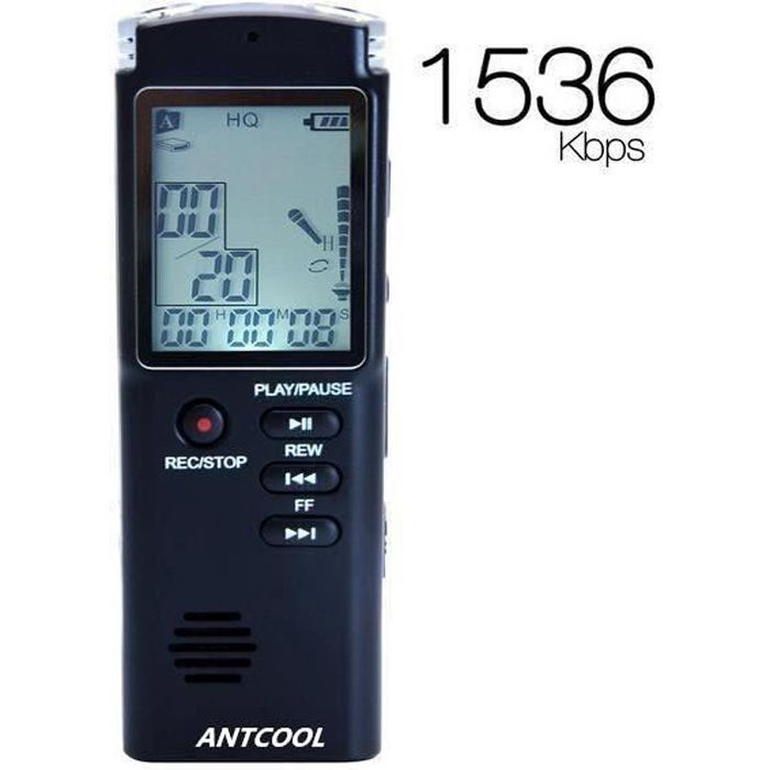 Dictaphone Numérique - Lecteur Mp3 8go Enregistreur Vocal Portable, Activation Vocale Rechargeable Avec Micro Stéréo