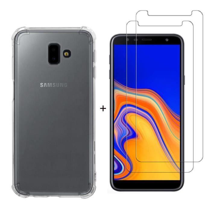 Coque Samsung Galaxy J6 Plus 2018,Doux TPU Silicone Transparent Téléphone  Arrière Housse + 2 Pack Verre trempé écran protecteur 9384dd051cbb