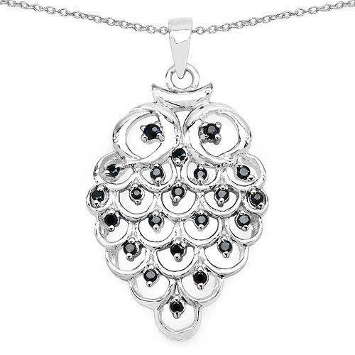 Véritable Femmes 0.68ctw Noir Saphir 0,925 pendentif en argent sterling L7ANX