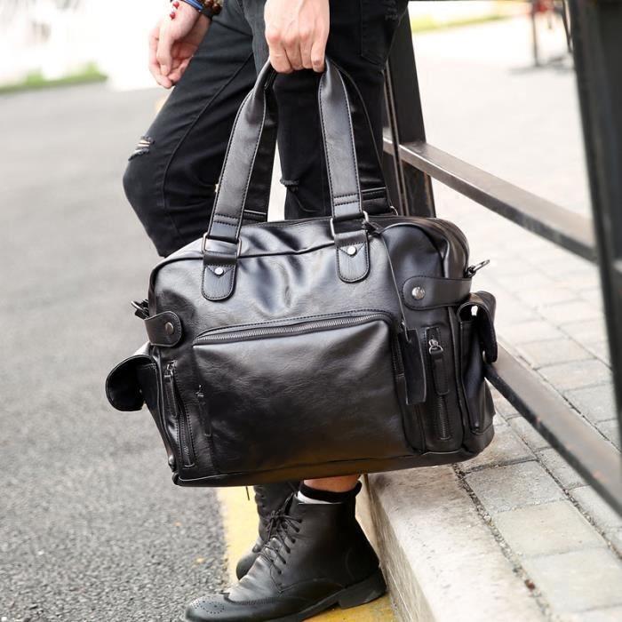 besace Nouveau mode multifonction Hommes PU Sacs de en cuir imperméable Marque Vintage Hommes Sacs de haute qualité-791