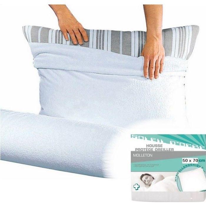 housse prot ge taie d 39 oreiller carre 50 x 70 cm achat vente protege oreiller cdiscount. Black Bedroom Furniture Sets. Home Design Ideas