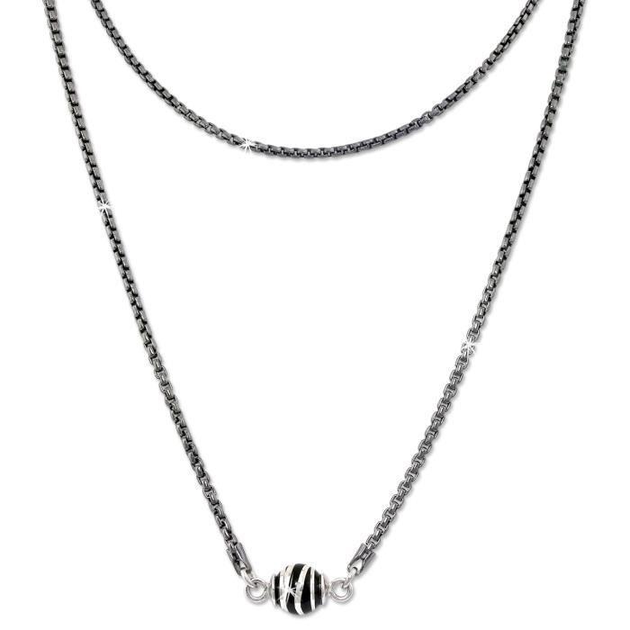SilberDream Collier - Boule noirci Vague - Argent 925 - Femme - Chaîne 46cm - Bijoux SDK24446S