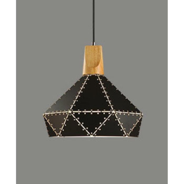 Grand Lustre Diamond Américain Forgé Industriel 29cm Star Lampe Fer Massif D'éclairage En Suspension Noir Bois QWBoCrdExe