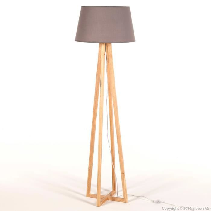 lampadaire pied croix en bois avec abat jour en tissu hauteur 150cm soren gris achat vente. Black Bedroom Furniture Sets. Home Design Ideas