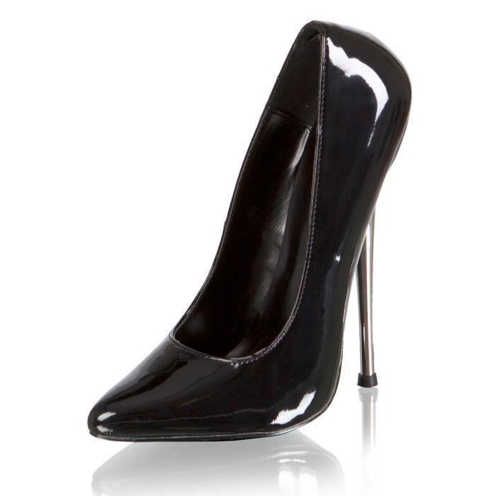 """Patent 6"""" Metal Heel Court Shoe Black"""