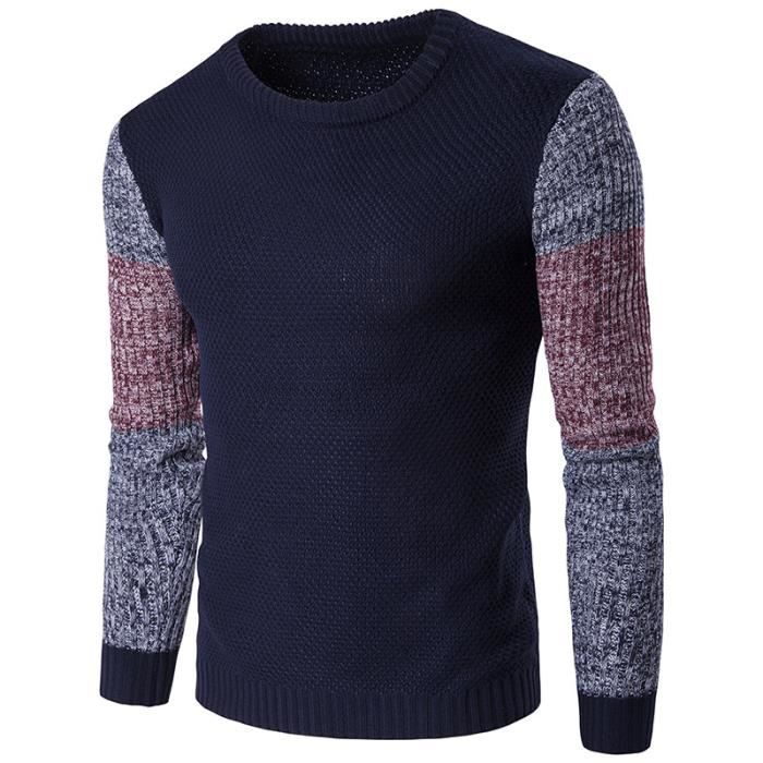 PULL Pullover Homme Couleur Patchwork Manches Longue Po
