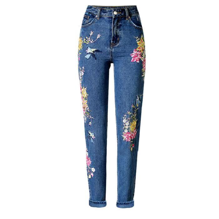 Jeans Pantalon Femme Bleu 3D Oiseau Fleurs Broderie Pour Femme Taille Haute  Slim Fit Skinny Poche Pantalon Femme a286328177ff