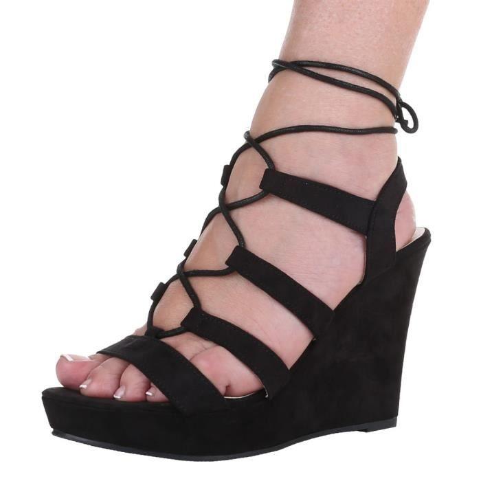Chaussures femmes sandales Escarpins avec laçage noir