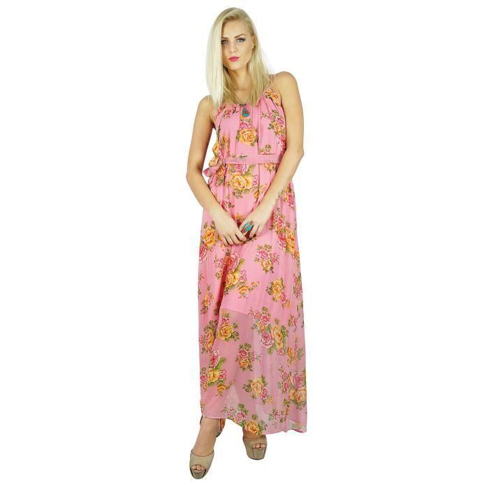 b48b35832cd Bimba Femmes Style Bohême longue robe en mousseline de soie  semi-transparent demi-Lined