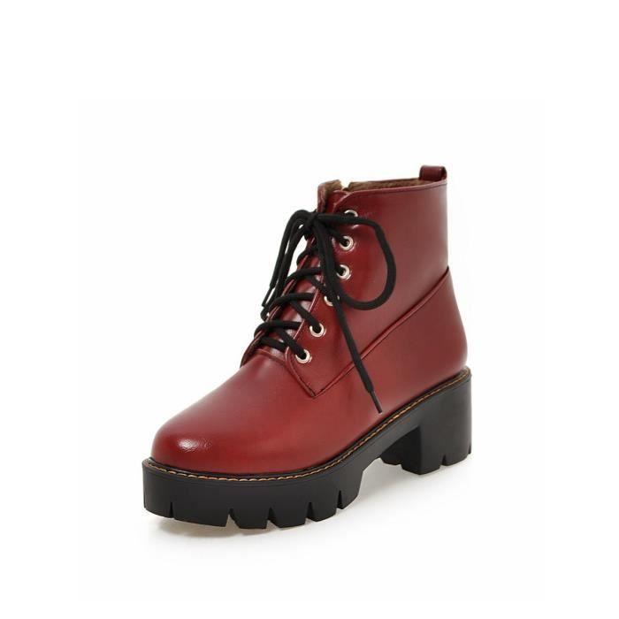 Martin Bottes Solide Couleur Brief design Chaussures de lacer Casual femmes 13147826