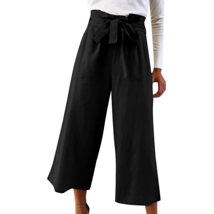 Minetom Pantalon Large Femme Palazzo Jambes Large Fluide Chic Elastiqué  Taille Haute Décontracté avec Ceinture 190f6f141e0c