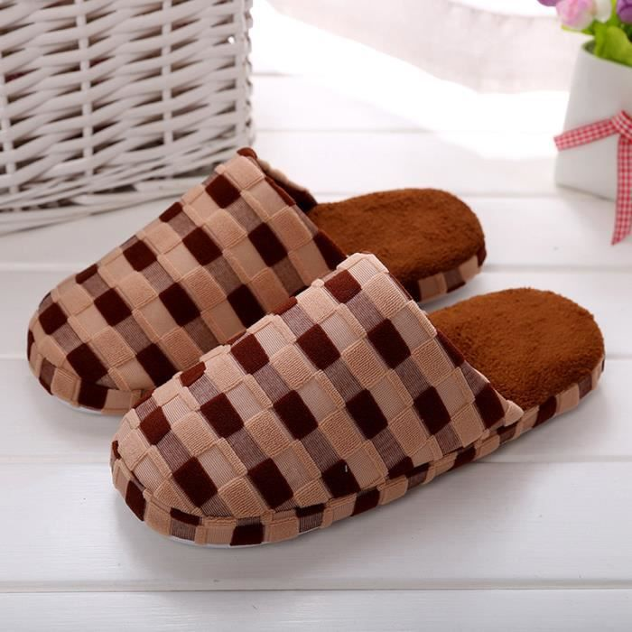 Chaude Chaussures Chaussons Fausse Hiver Hommes D'intrieur Accueil marron Fourrure Y1wn1RBxqa