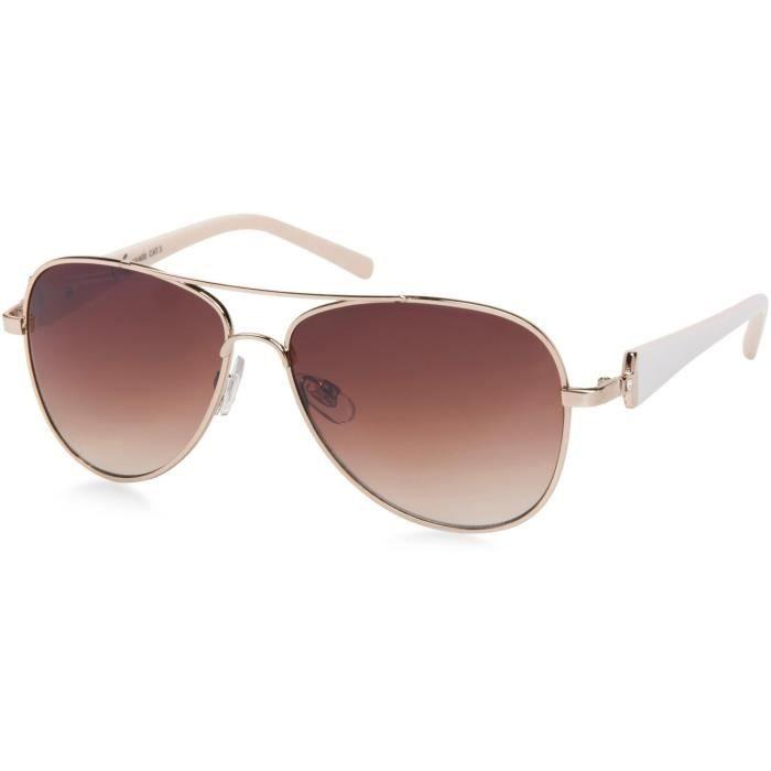 Élégantes lunettes pilote pour femme à verres teintés, lunettes de soleil  style aviateur avec branches vernies et strass 09020053 ac188d128a52