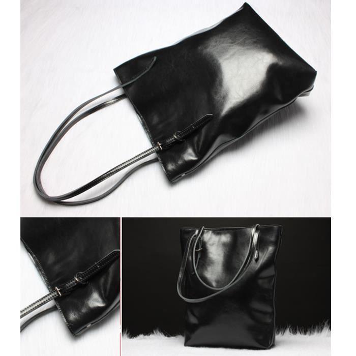 Cuir Design Simple Femmes Mode Bucket sac à main fourre-tout Sac à bandoulière - Noir