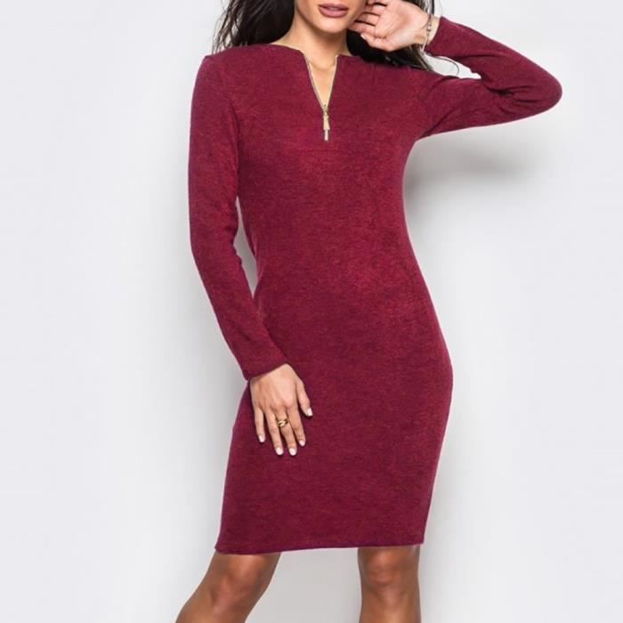 Deessesale®Femmes O cou zip Casual Solid long manches robe de soirée en vrac ROUGE^FGT71108291RD