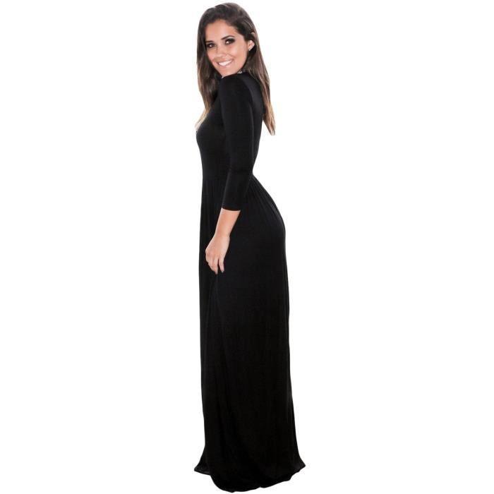 Longue robe noire à manches trois quart simple stretch, poches, casual gothique
