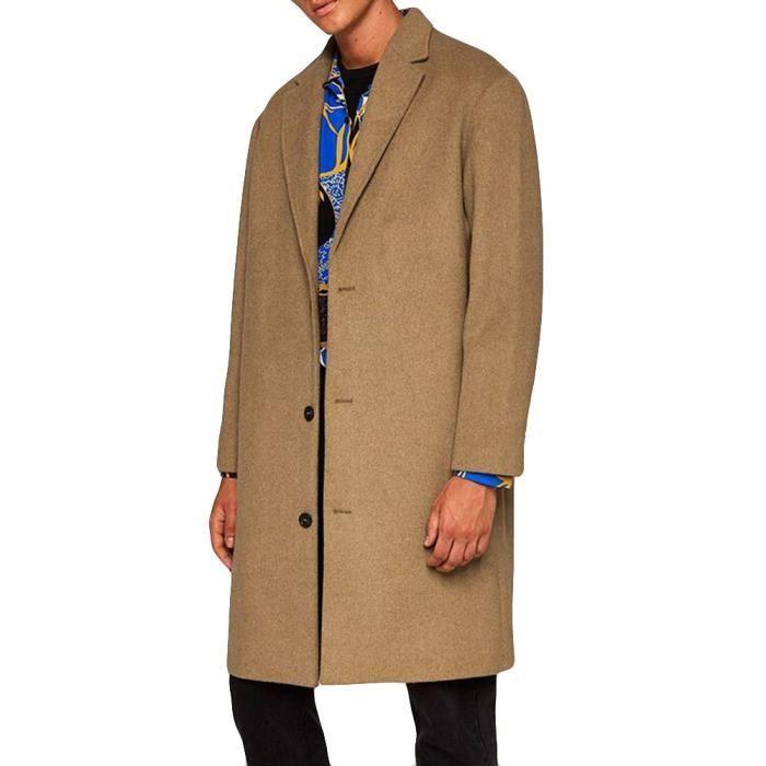 Hiver Automne Bouton Homme Woollen Moyen Lapel Manteau Long Nouveau Kaki 14daqwpd