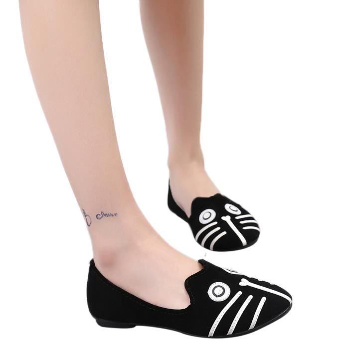 Doug Simple Talon Fminin Rond Plat Chaussures Modehall Simples Animal 7593 Cartoon Souliers Bout 88qO0