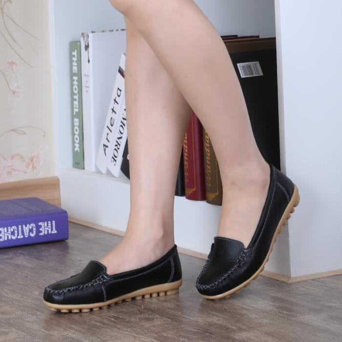 En noir La Femme Cuir 5 Femmes Enfilez Mocassins Chaussures 5 Mocassins De Vritable Plates 4q5gnxPw