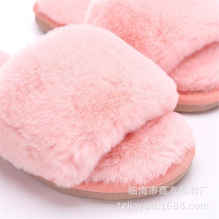 chaussons Enfant Fille hiver intérieur pantoufles chaud hiver peluche Série à domicile chaussure marque Plus De Couleur