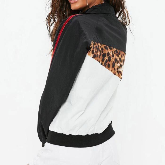Casual Noir Femmes Manteau Leopard Brochage Zipper Longues Veste Imprimer Manches gwxa5wq