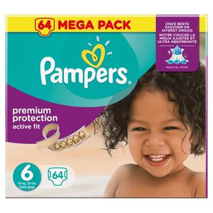 COUCHE Pampers Premium Active Fit Taille 6 15+ kg - 64 Co