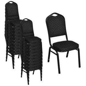 CHAISE 20 Pcs Chaise Empilable Rembourree Noir