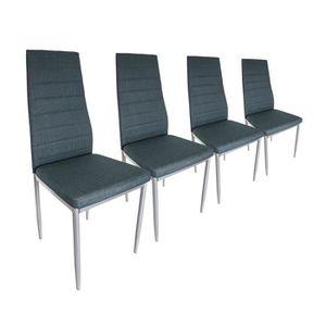 CHAISE Lot de 4 chaises en simili cuir Gris Bleu