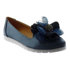 7945d4d4e7502 Angkorly - Chaussure Mode Mocassin slip-on femme fleurs bijoux strass Talon  plat 1.5 CM - Bleu - WH858 T 37
