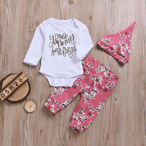 12a638b8150e4b Ensemble de vêtements Lettre du nouveau-né Baby Girls Imprimer manches l ...