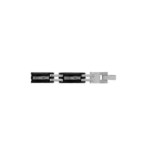 Bracelet acier et PVD noir 7mm gravure laser motif