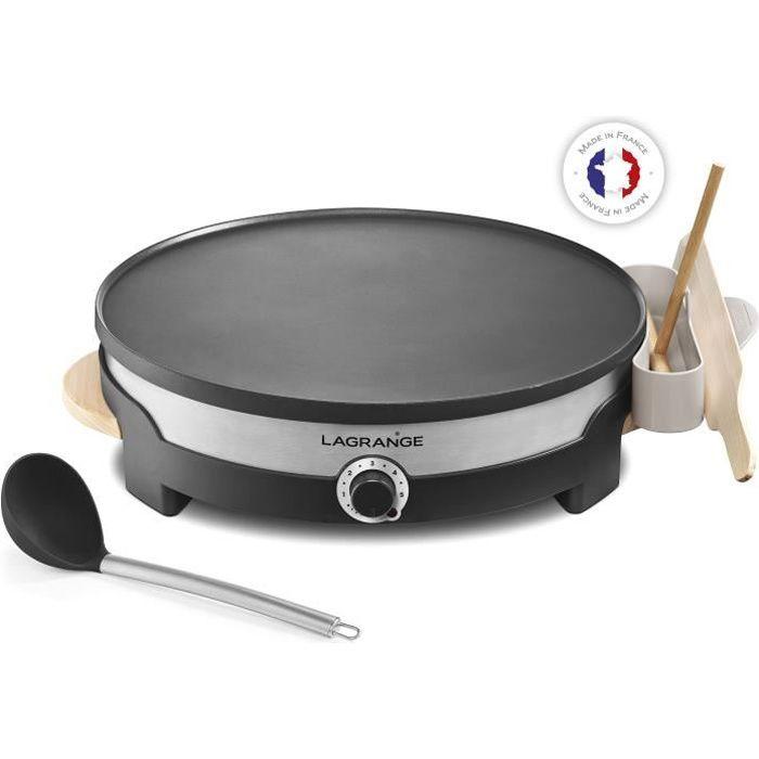 LAGRANGE Crépière Tradi'® - 1500W - Plaque de 35cm - 1 grande louche, 1 répartiteur, 1 grande spatul