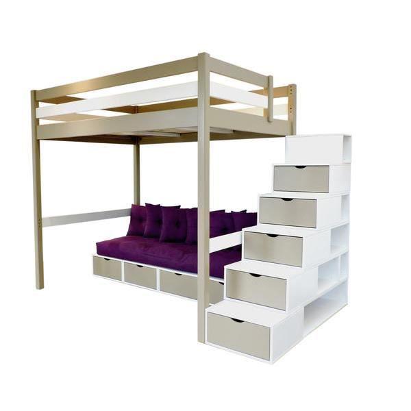 Mezzanine Sylvia 120/200 avec escalier cube, banquette cube et futon ...