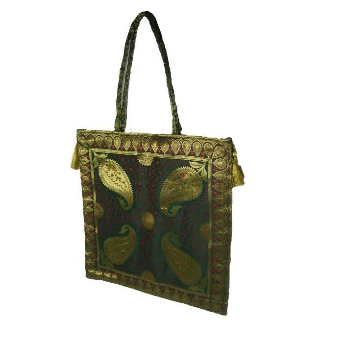 Sac à bandoulière traditionnel ethnique Brocade soie sac à main pour dames, à la main, Big YM59X