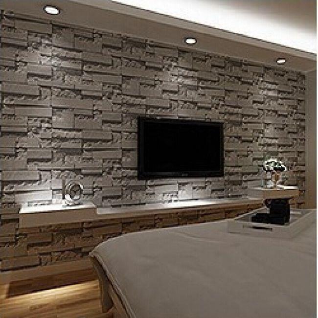 Papier Peint Mur de pierre Papier 3D Mur de Briques Gris 5.3m2 ...