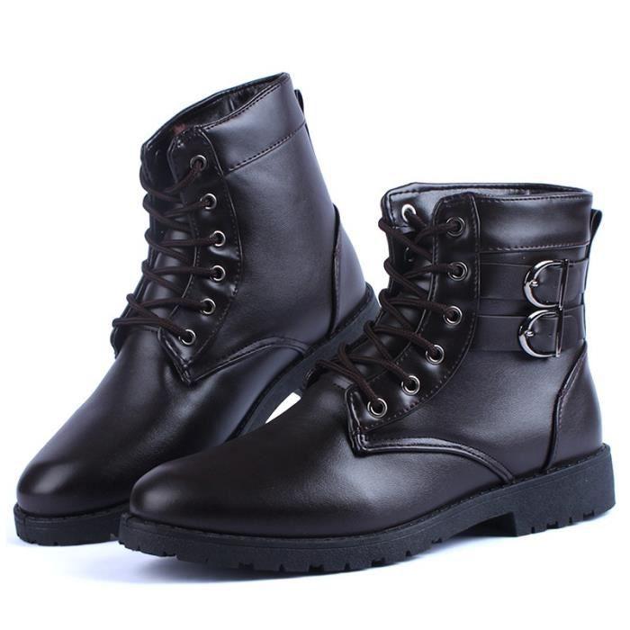 Botte Homme Martin de haute qualité pour lesen cuir Tooling hautes noir taille10